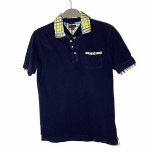 Tommy Hilfiger Boy's Pique Polo Plaid Collar Navy Size Large